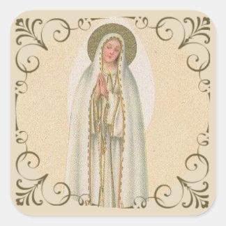 Our Lady of Fatima Gold Border Square Sticker