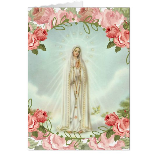 Our Lady of Fatima Pink Roses Card