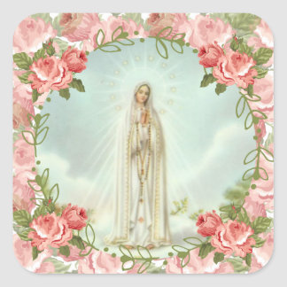 Our Lady of Fatima Pink Roses Square Sticker