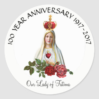 Our Lady of Fatima Roses Rosary Crown Anniversary Round Sticker