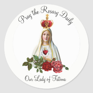 Our Lady of Fatima Roses Rosary Crown Round Sticker