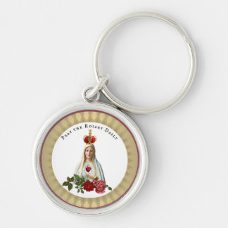 Our Lady of Fatima Roses Rosary Crown Silver-Colored Round Keychain