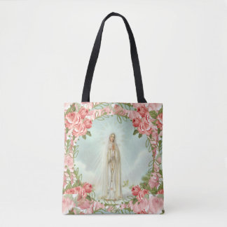 Our Lady of Fatima w/Pink Roses Tote Bag