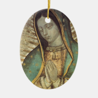 OUR LADY OF GUADALUPE CERAMIC OVAL ORNAMENT