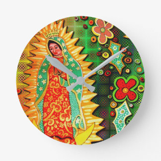 Our Lady of Guadalupe Mexico Round Clock