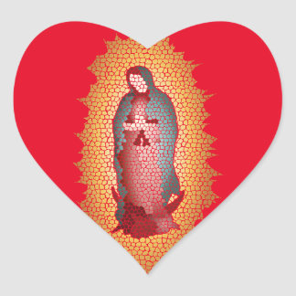 Our Lady Of Guadalupe Mosaic Design Heart Sticker