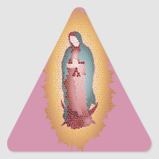 Our Lady Of Guadalupe Mosaic Design Triangle Sticker
