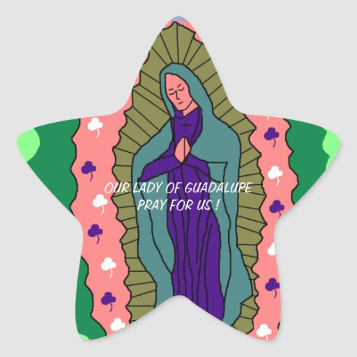 OUR LADY OF GUADALUPE PLEASE PRAY FOR US ! STAR STICKERS