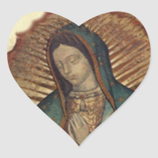 Our Lady of Guadalupe Vintage Christmas Heart Sticker