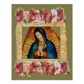 Our Lady of Guadalupe Virgin Mary & Roses Poster