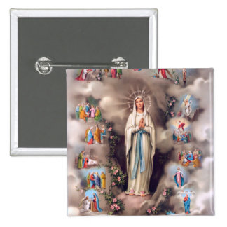 Our Lady of Lourdes 2 Inch Square Button