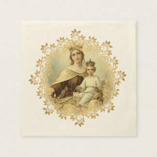 Our Lady of Mount Carmel Baby Jesus Scapular Paper Napkin
