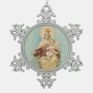 Our Lady of Mount Carmel  Baby Jesus Scapular Snowflake Pewter Christmas Ornament