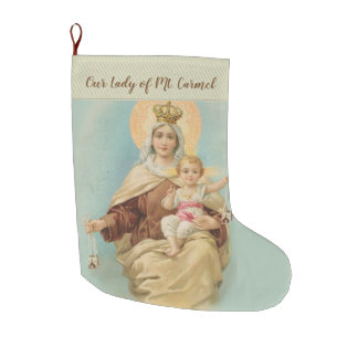 Our Lady of Mount Carmel with the Baby Jesus Large Christmas Stocking