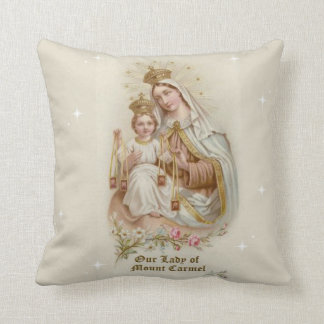 Our Lady of Mount Carmel  with the Baby Jesus Throw Pillow