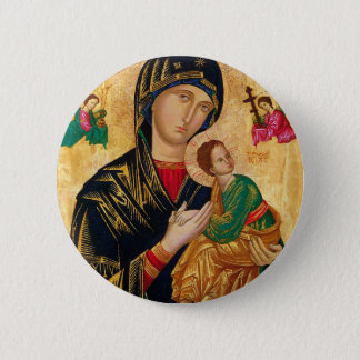 Our Lady of Perpetual Help Icon Virgin Mary Art 2 Inch Round Button
