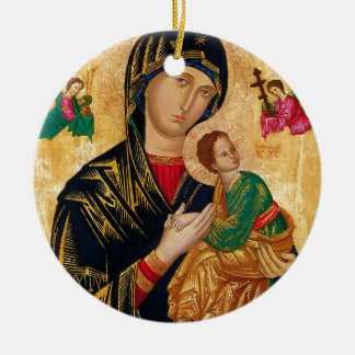 Our Lady of Perpetual Help Icon Virgin Mary Art Ceramic Ornament