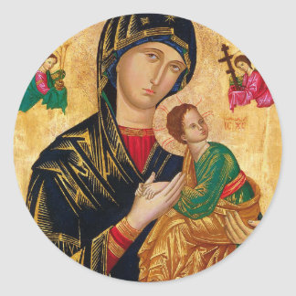 Our Lady of Perpetual Help Icon Virgin Mary Art Classic Round Sticker