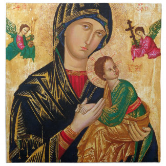 Our Lady of Perpetual Help Icon Virgin Mary Art Napkin
