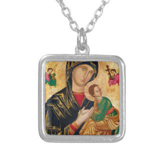 Our Lady of Perpetual Help Icon Virgin Mary Art Silver Plated Necklace
