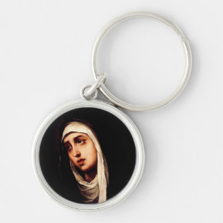 Our Lady of Sorrow Silver-Colored Round Keychain
