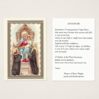Our Lady of the Rosary Prayer Memorare Holy Card