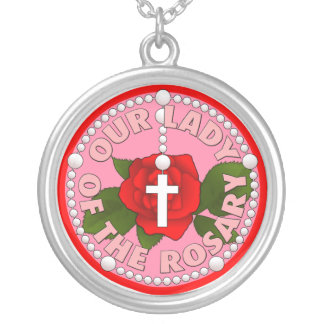 Our Lady of the Rosary Silver Plated Necklace