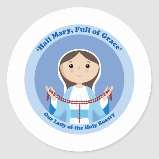 Our Lady of the Rosary Round Sticker