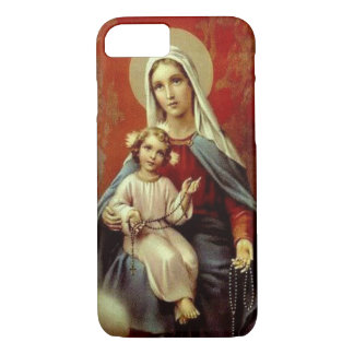 Our Lady of the Rosary w/Jesus Burgundy Red Gold iPhone 7 Case