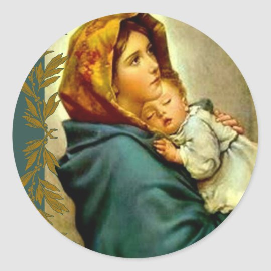 Our Lady of the Street Blessed Mother Child Jesus Classic Round Sticker
