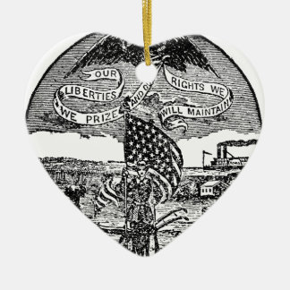 Our Liberties We Prize, Rights We Maintain Ceramic Heart Ornament