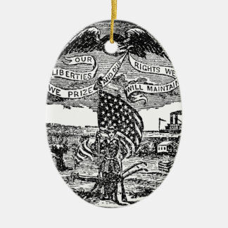 Our Liberties We Prize, Rights We Maintain Ceramic Oval Ornament