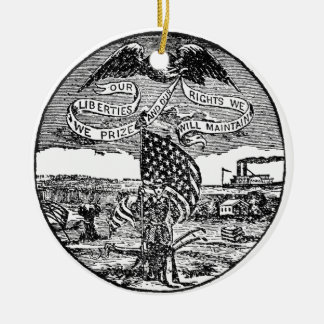 Our Liberties We Prize, Rights We Maintain Round Ceramic Ornament