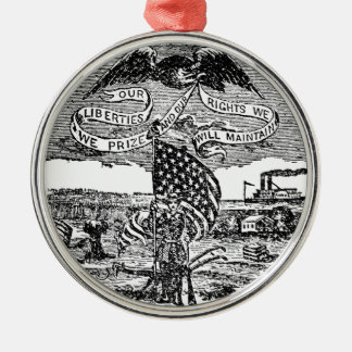 Our Liberties We Prize, Rights We Maintain Silver-Colored Round Ornament