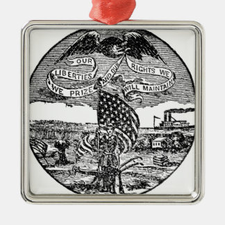Our Liberties We Prize, Rights We Maintain Silver-Colored Square Ornament