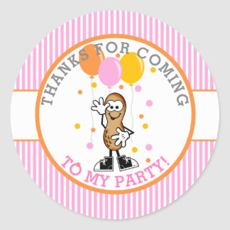 Our Lil Peanut Birthday Party Thank You Classic Round Sticker