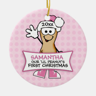 Our Lil Peanut's First Christmas (pink) Ceramic Ornament