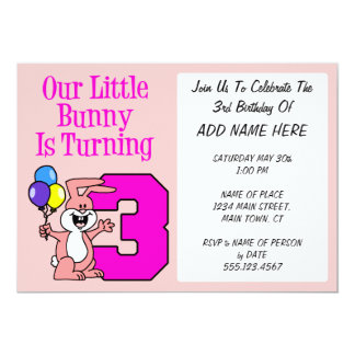 Our Little Bunny Is Turning Three Card