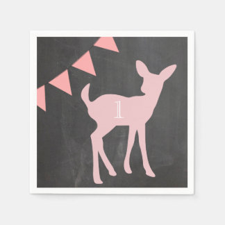 Our Little Doe is Turning ONE! Birthday Napkins Paper Napkins