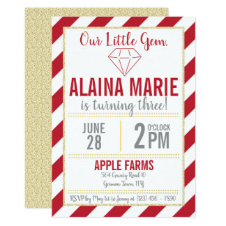 Our Little Gem Ruby Gold Glitter Birthday Invite
