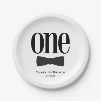 Our Little Man First 1st Birthday Bow tie Party Paper Plate