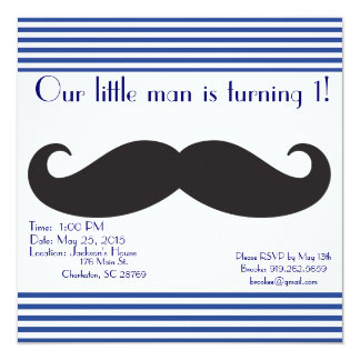 Our Little Man Mustache Birthday Invitations