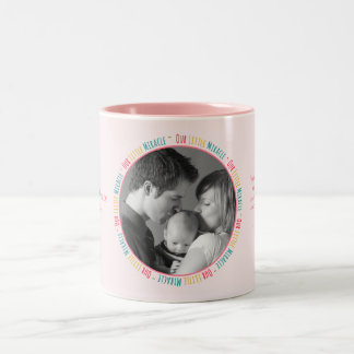 Our Little Miracle - Pink Baby Custom Photo/Name Two-Tone Coffee Mug