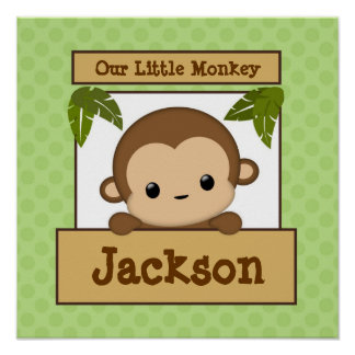 Our Little Monkey Art Print Personalized Name