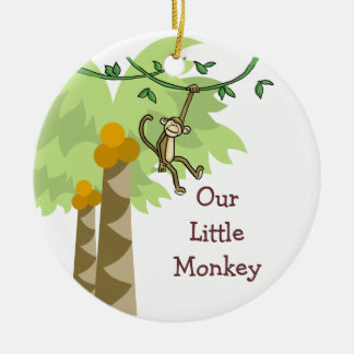 Our Little Monkey Personalized Photo Baby Ceramic Ornament
