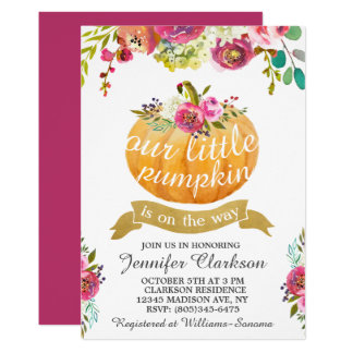 Our Little Pumpkin Elegant Floral Card
