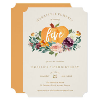 Our Little Pumpkin Fifth Birthday Invitation