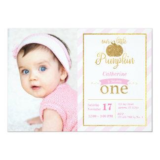 Our Little Pumpkin Gold/Pink Birthday Invite Photo