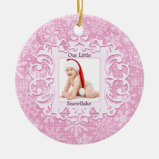 Our Little Snowflake Christmas Holiday Photo Pink Round Ceramic Ornament