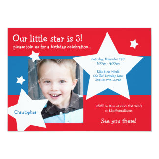 Our Little Star Red, White, and Blue Boy Birthday Card